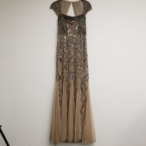 Adrianna Papell Gold Beaded/Sequins Gown Dress 6P